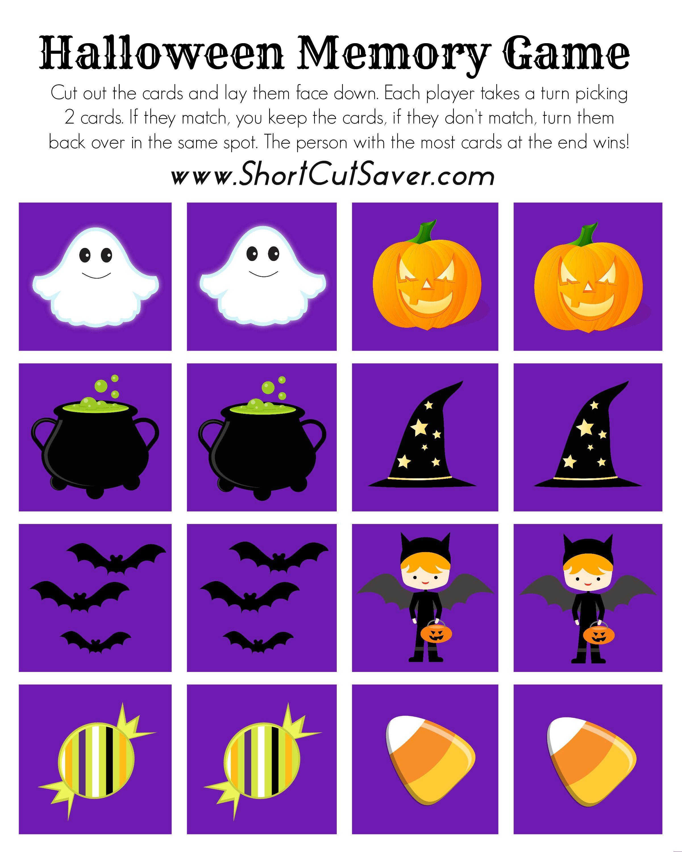 FREE Printable Halloween Memory Game Halloween cupcake