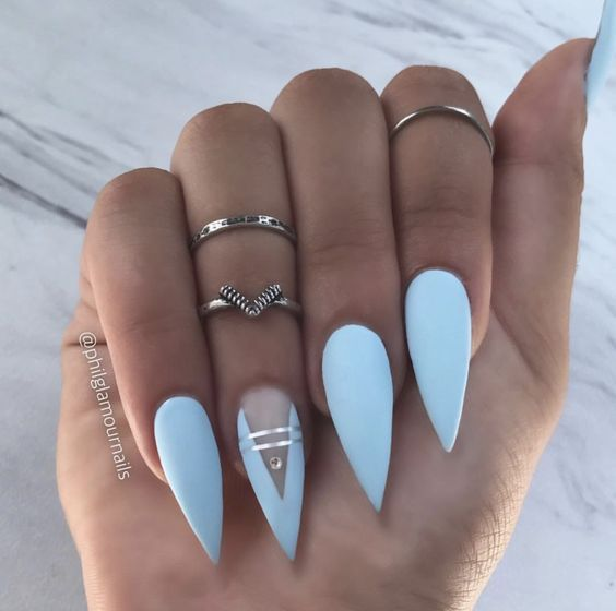 56 Must Try Trendy And Gorgeous Light Blue Sky Blue Nails Designs In Fall And Winter Nail Idea 38 Sky Blue Nails Sky Blue Nail Designs Blue Nail Designs