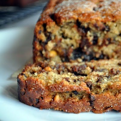 Peanut butter banana bread with chocolate chips.