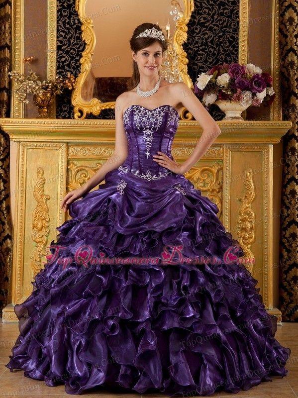 71377c34581 Purple Sweet 16 Dress Sweetheart Ruffles Organza Applique