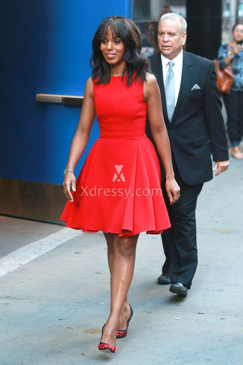 Kerry Washington Sweet 16 Style Red Cocktail Dress Bateau Neckline ...