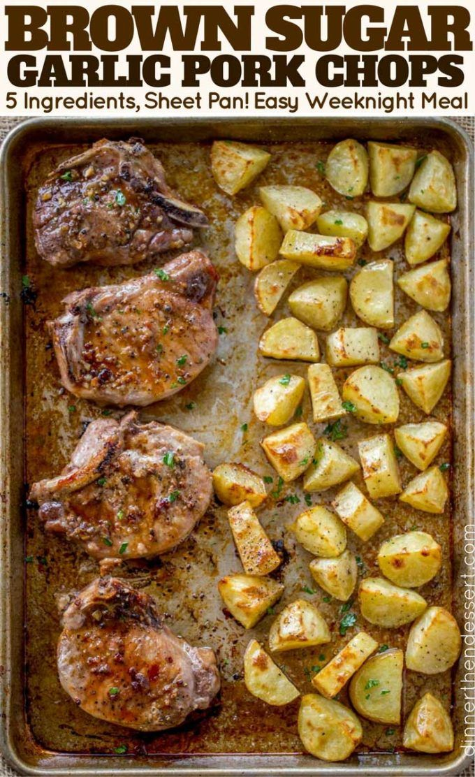 Oven Baked Pork Chops Covered In Brown Sugar And Garlic On A Sheet Pan With Yukon Potatoes One