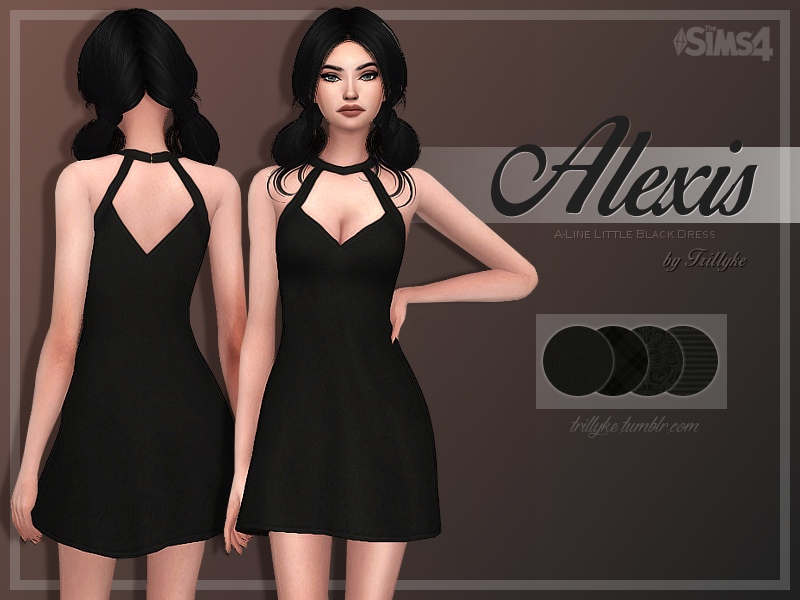 """trillyke: """" Alexis A-Line Little Black Dress I'm out of ideas and motivation lately, but I found this cute dress on Nastygal so I couldn't stop myself from creating a sim verison of it. Originally I..."""