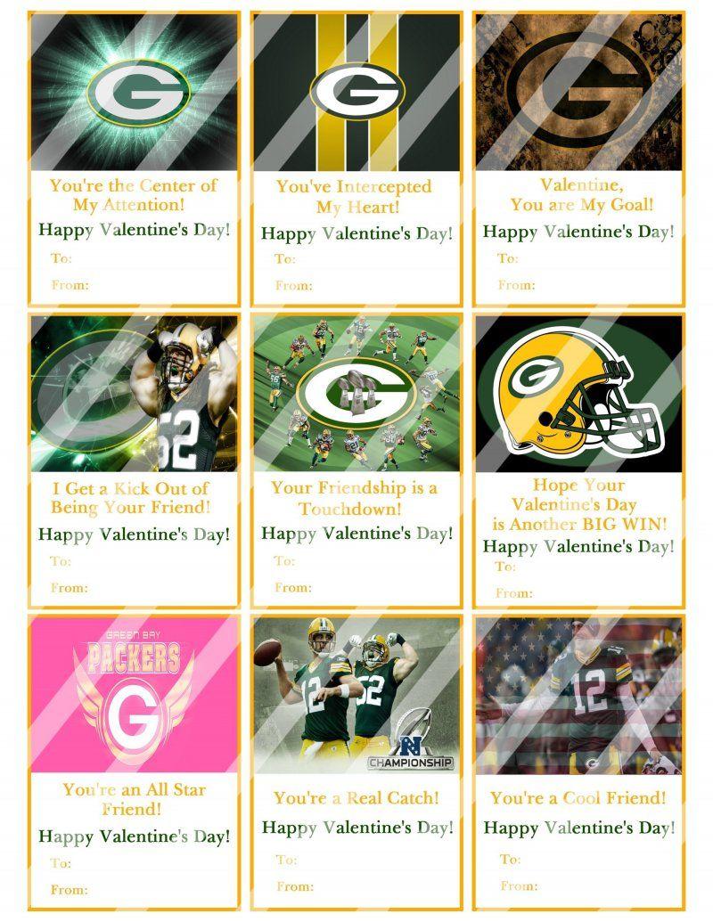 Green Bay Packers Digital Or Printed Valentines Day Cards 2 5x3 5 Sheet 8 In 2020 Valentine Day Cards Valentine Print Valentines