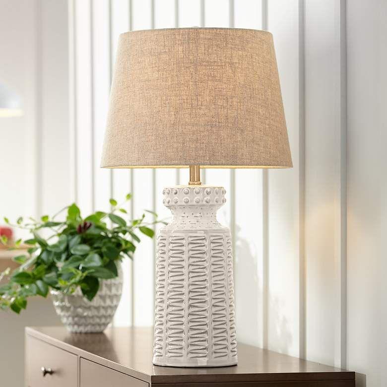 Helene Cream White Ceramic Table Lamp 4d527 Lamps Plus In 2021 Ceramic Table Lamps Farmhouse Table Lamps White Ceramic Lamps