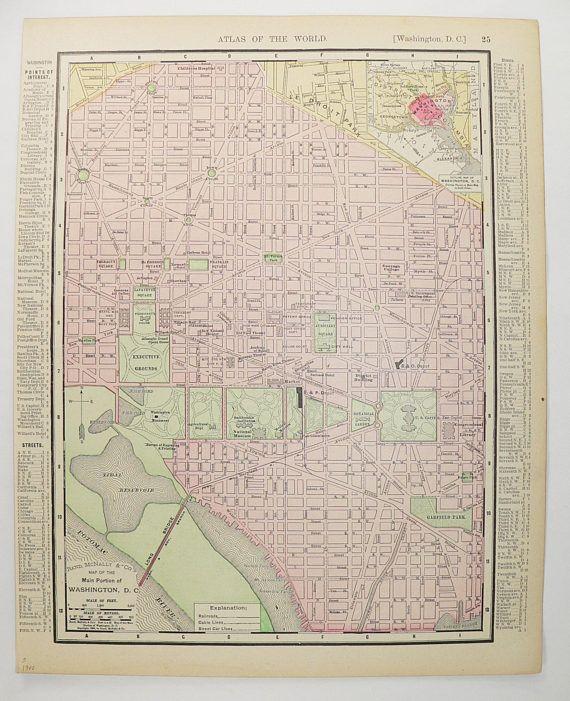 1900 Map Washington DC Map US Capital City Street Map Virginia