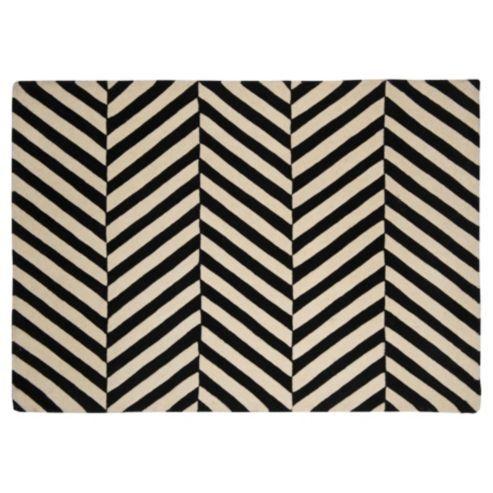 wool black and white herringbone chevron rug 70x130cm   home