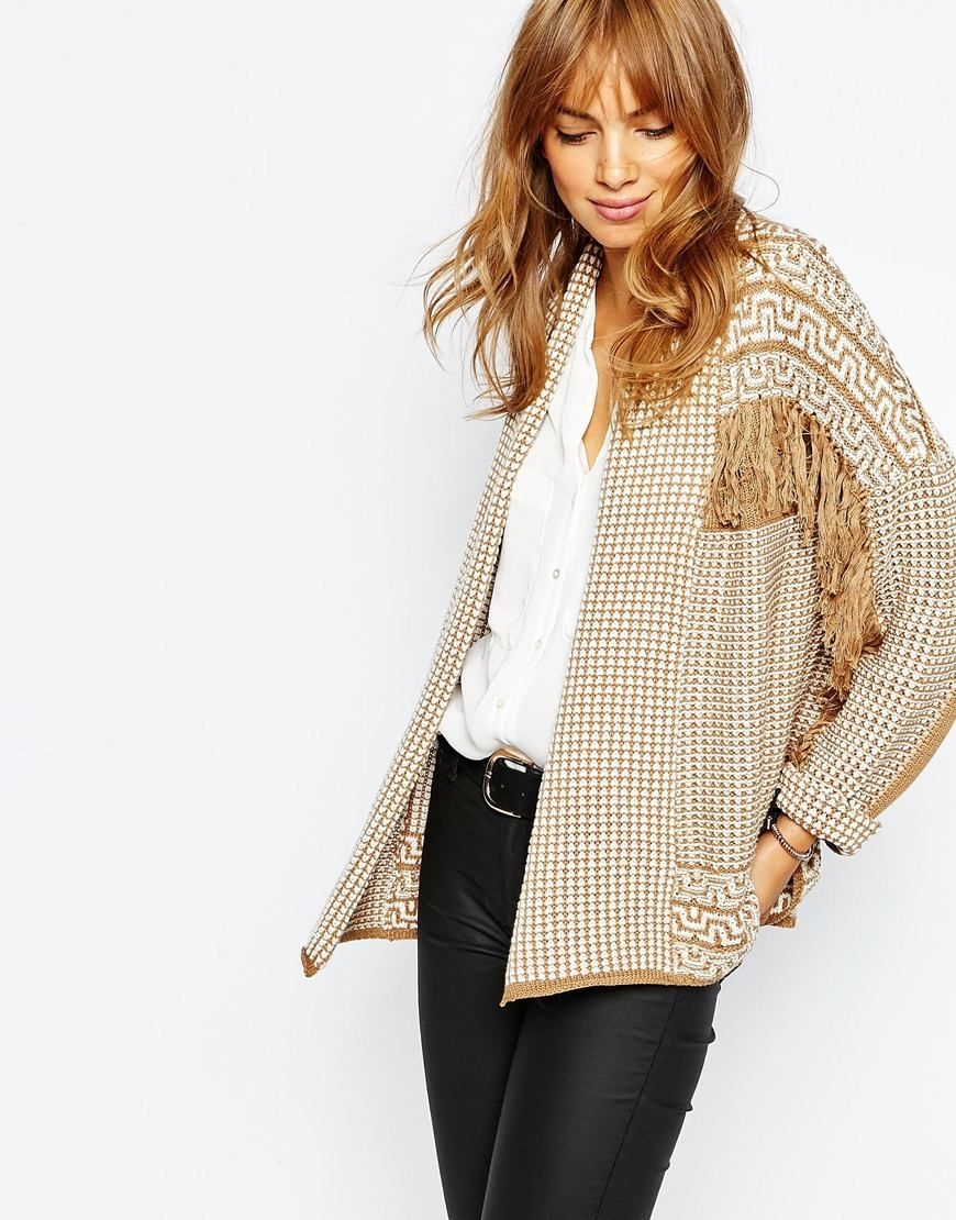 Vila Open Knitted Cardigan Women Beige Cheap Sale Outlet Free Shipping Pictures FWFa0ti6