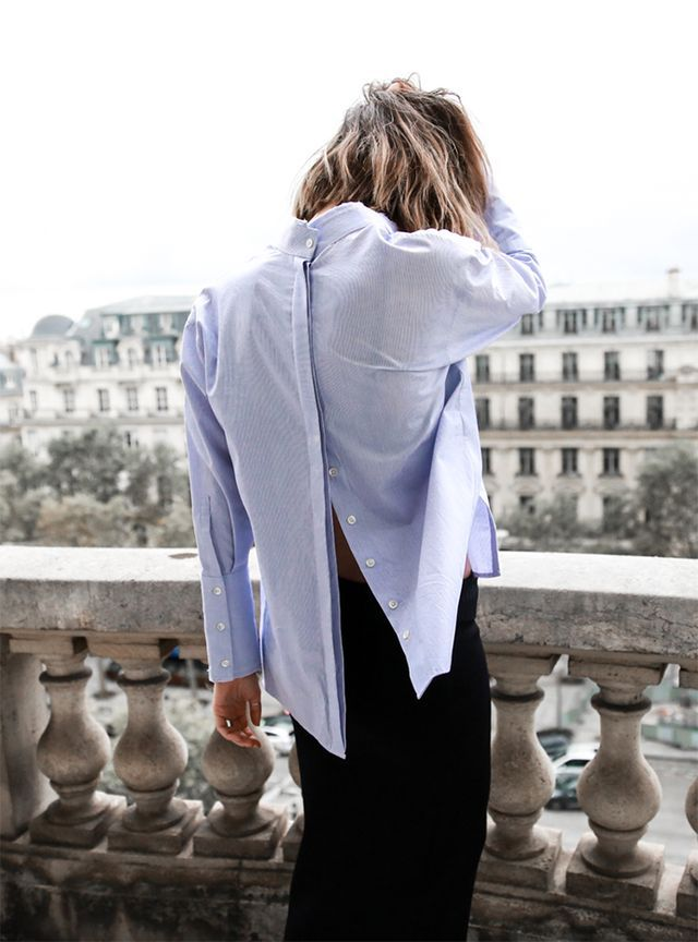 by Sania Claus Demina The blue shirt is one of the most fundamental wardrobe pieces,and the ways to style it are endless. This Spring, we've noticed a slightly looser fit popping up on outfit posts.