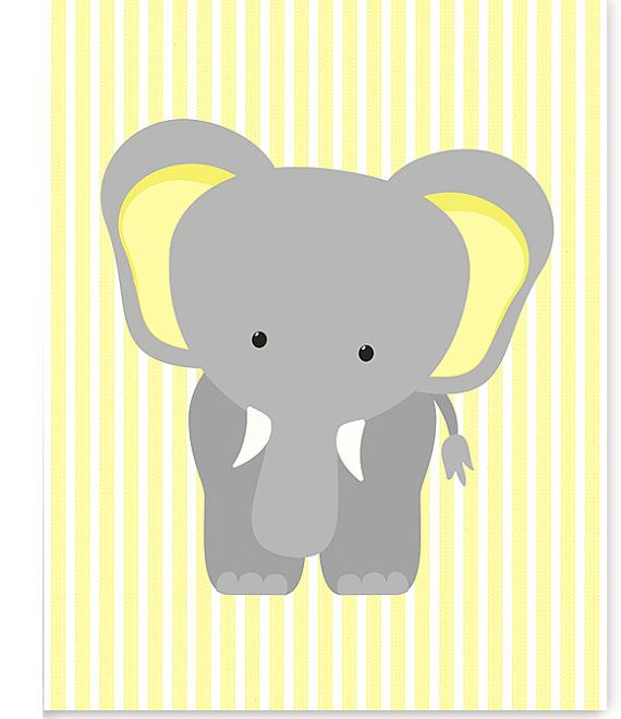 Elephant Nursery Art Zoo Baby Room Decor Jungle Nursery
