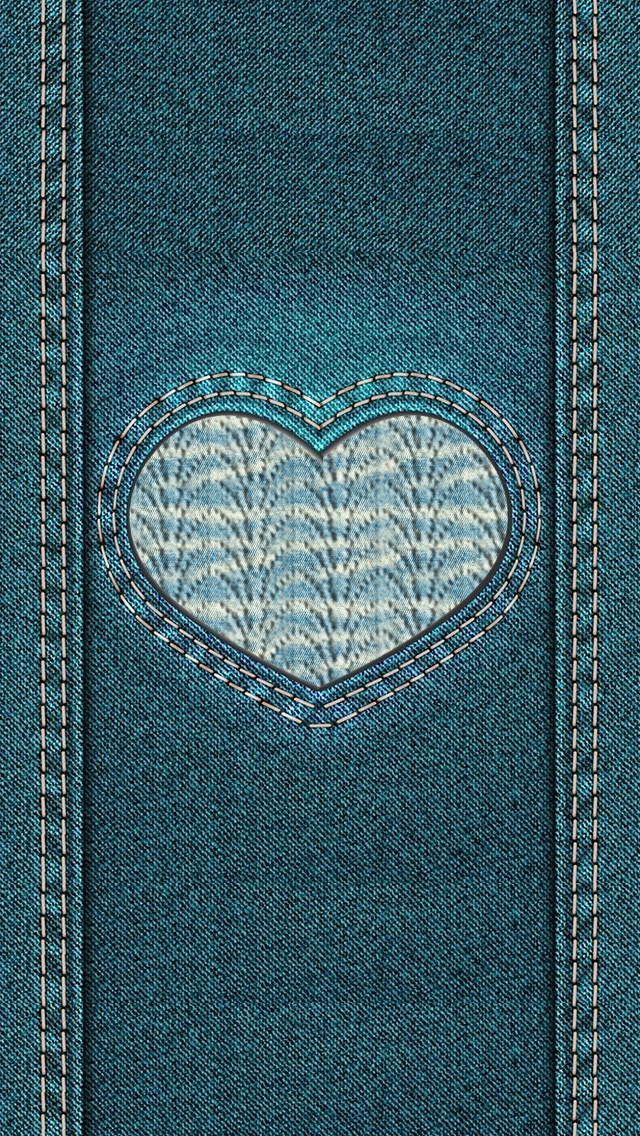 Denim Love Heart IPhone Wallpaper Background Lockscreen