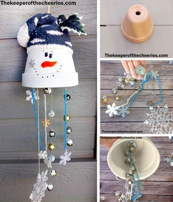 Clay Pot Snowman Wind Chime Materials Clay pot Dollar store sock Beads Bells Snowflakes Strong string 2-Large washers Thick string or hemp twine Orange Felt Scissors Black sharpie White spray paint misc embellishments Hot glue and glue gun or other strong adhesive Directions Spray your clay pot with white outdoor rated spray paint Thread beads, bells and snowflakes on several different stings Tie all the strings to a washer Thread a thick durable sting or twine through washer and tie a knot o...