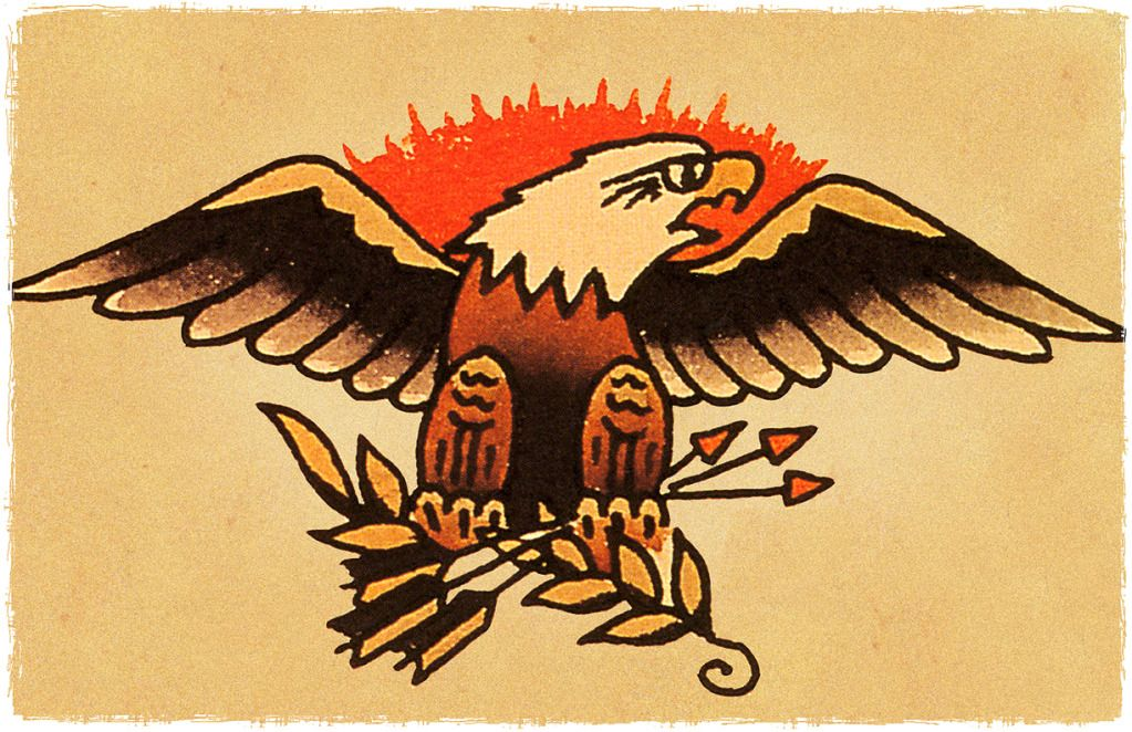 863058d91 American Bald Eagle vintage Sailor Jerry Inspired Traditional Tattoo Poster  | eBay