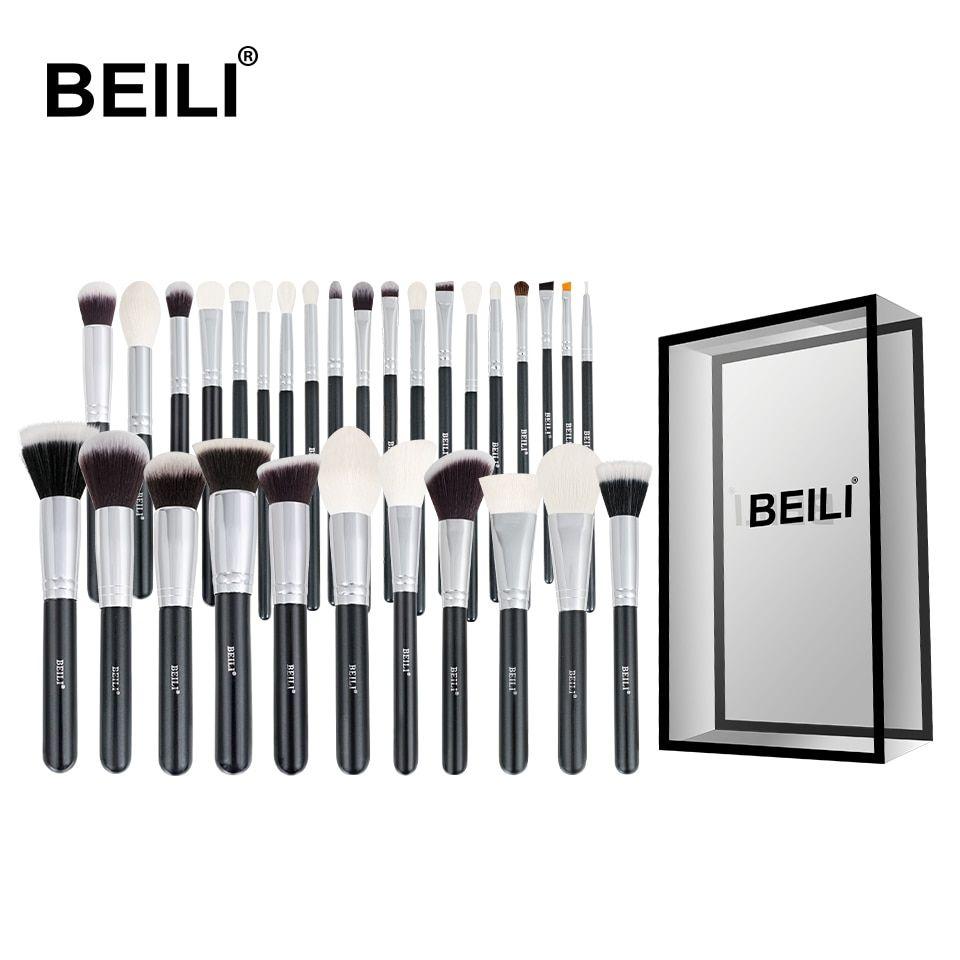 Beili Black Complete Professional Natural Goat Hair Makeup Brushes Set Foundation Powder Concealer In 2020 Makeup Brush Set Eye Blending Brush Black Makeup Brush Set