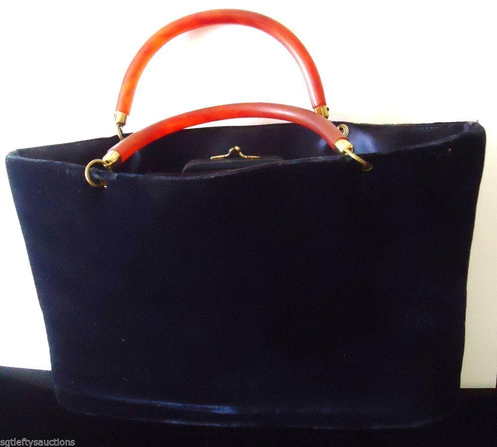 Vintage Garay Deep Blue Velvet Handbag Lucite Handle Coin Purse &  Lucite Comb #Garay #BlueVelourHandbag