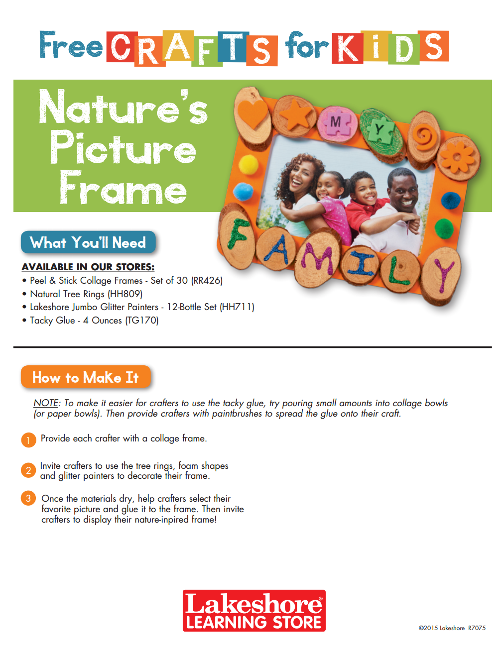 Instruction sheet from lakeshores free crafts for kids event instruction sheet from lakeshores free crafts for kids event featuring the natures picture frame jeuxipadfo Gallery