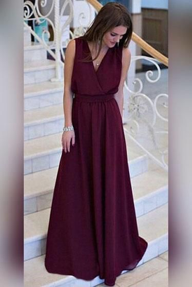 df55a90ba Simple A-line V-neck Chiffon Sweep Train Burgundy Sleeveless Sashes Prom  Dresses UK PH404