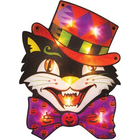 Lighted Vintage Black Cat Sign Halloween Decoration Spooktacular - halloween decorations at walmart