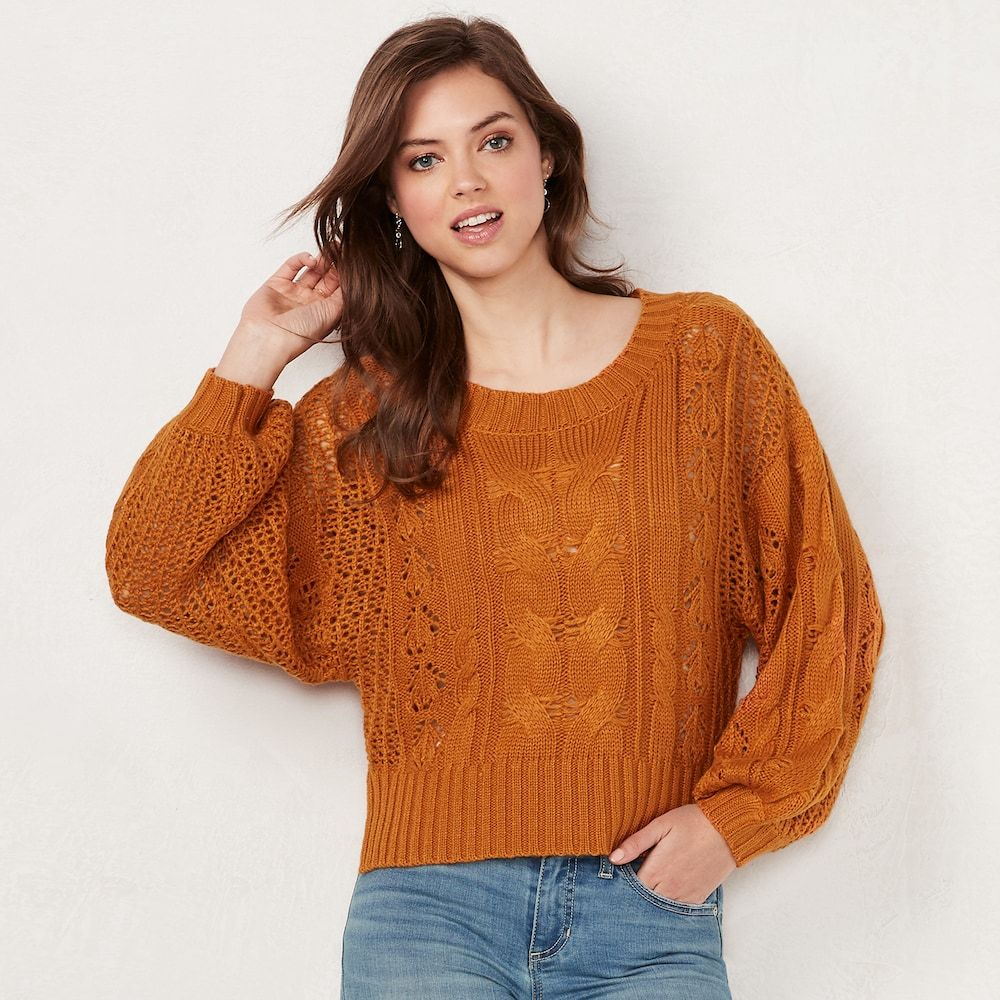 2eecc47059d Women's LC Lauren Conrad Cable-Knit Crop Sweater | Products | Cable ...