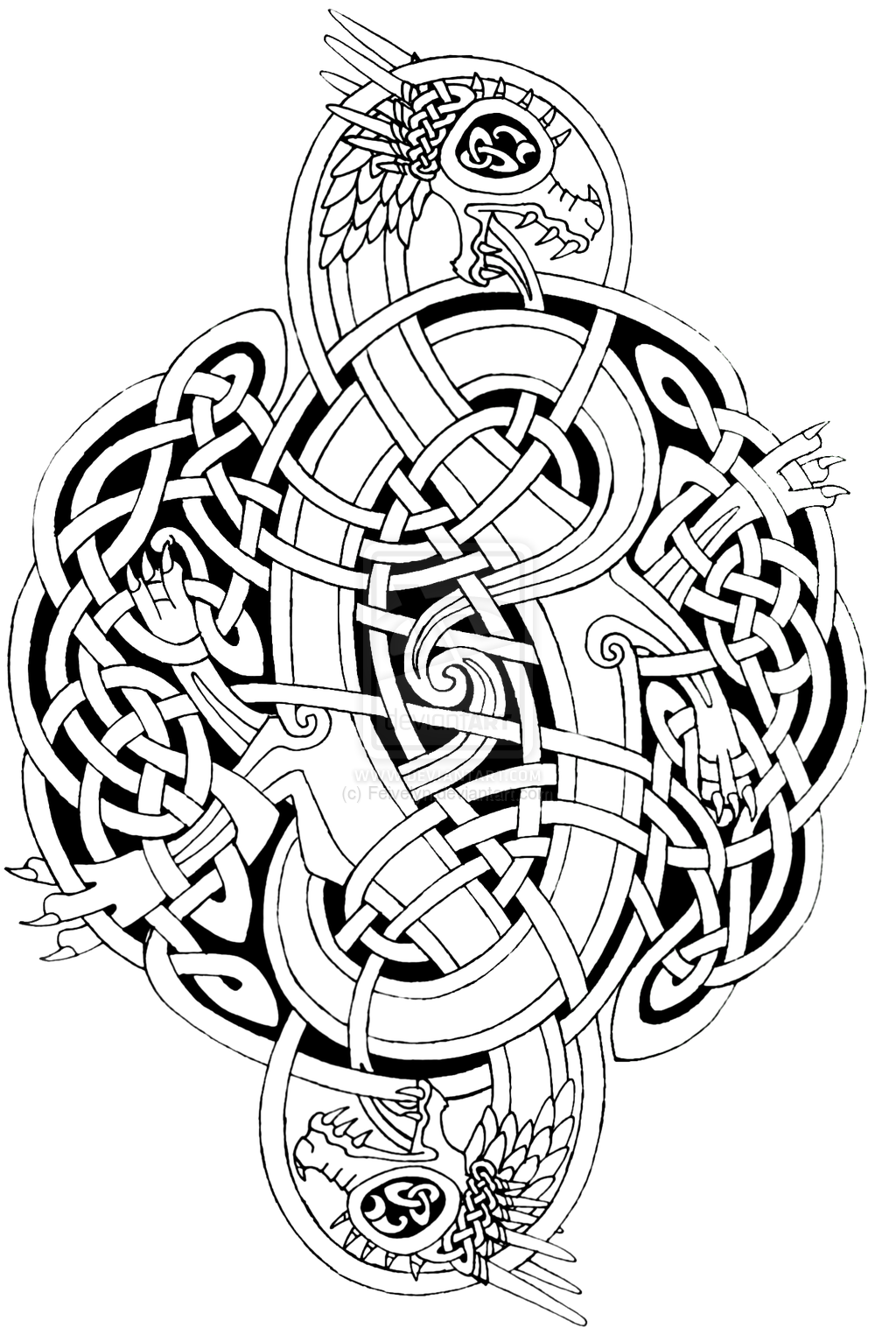 Celtic Dragons 3 By Feivelyn On Deviantart Celtic Mandala Celtic Coloring Celtic Dragon