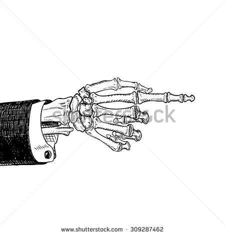 Scary Skeleton Hand Pointing Hand Drawn Sketch Black And White Isolated On White Vector Illustration Eps10 Pointing Hand How To Draw Hands Skeleton Hands