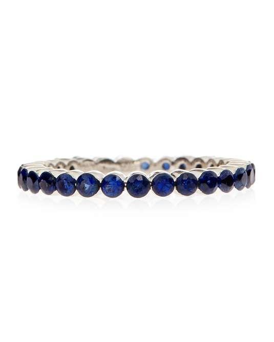 Favero | 18k Blue Sapphire Eternity Ring, Size 6.75 #favero #eternity #ring