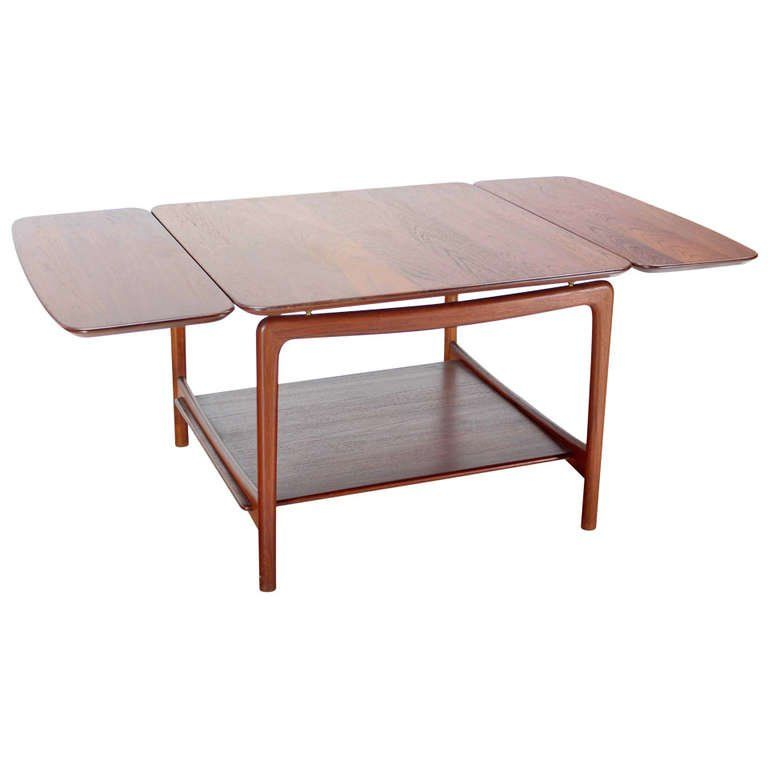 Square Solid Teak Drop Leaf Coffee End Table From A Unique Collection Of Antique And Modern Pembroke Tables At