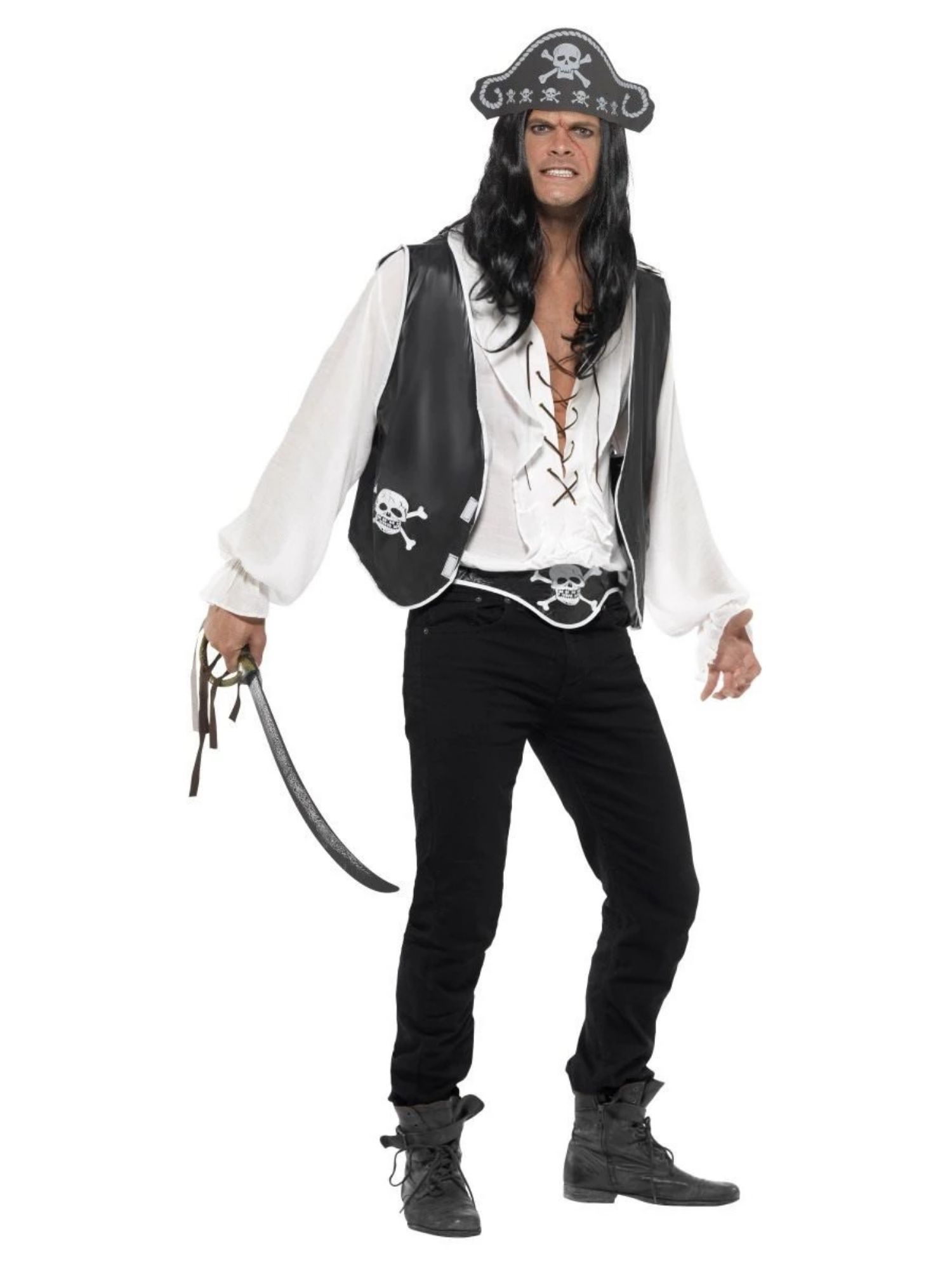 ** NOVELTY PIRATE TATTOO SLEEVE ONE SIZE ADULT FANCY DRESS NEW ** BUCCANEER
