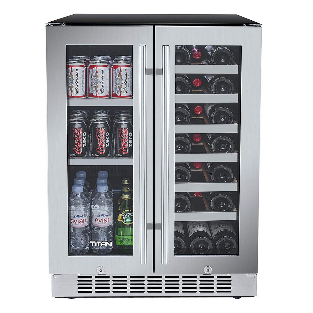 Titan 23 8 In 21 Bottle Wine And 60 Can French Door Seamless Stainless Steel Dual Zone Built In Beverage Cooler Tt Cbwc6021dz Built In Beverage Cooler Beverage Refrigerator Beverage Cooler