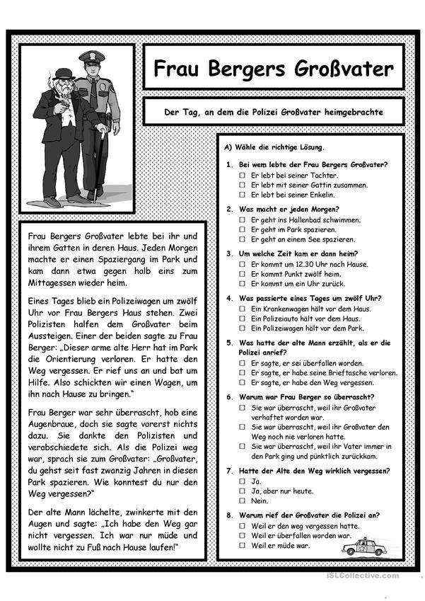 Ο παππούς της κας Berger και η αστυνομία | Arbeitsblätter ...