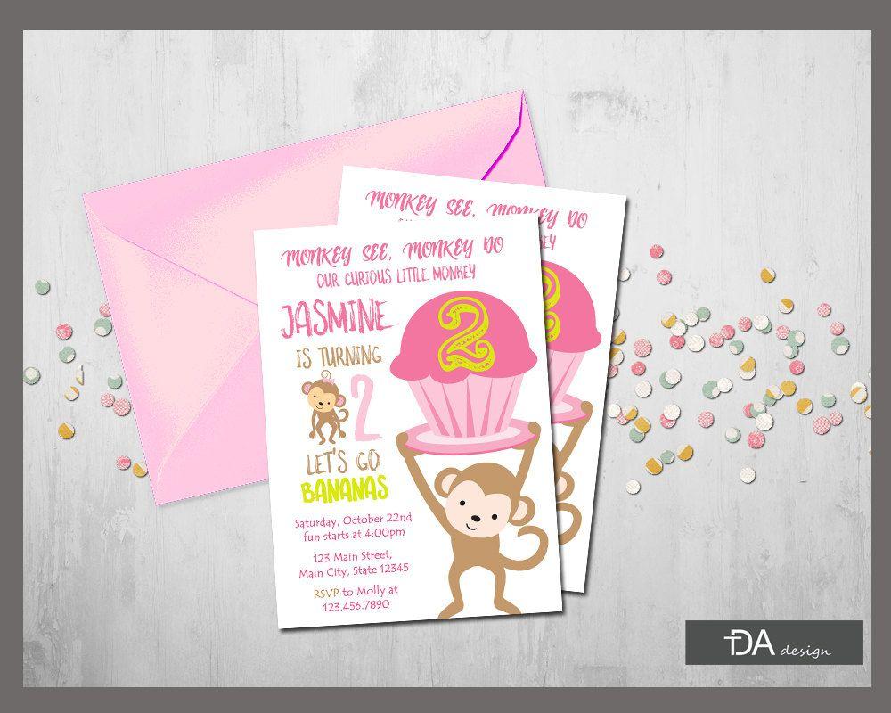 Girl Monkey Birthday Invitation, Let\'s Go Bananas Birthday Invite ...