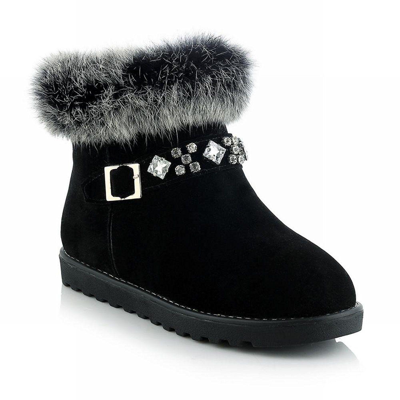 Show Shine Women's Fashion Rhinestones Buckle Flats Boots