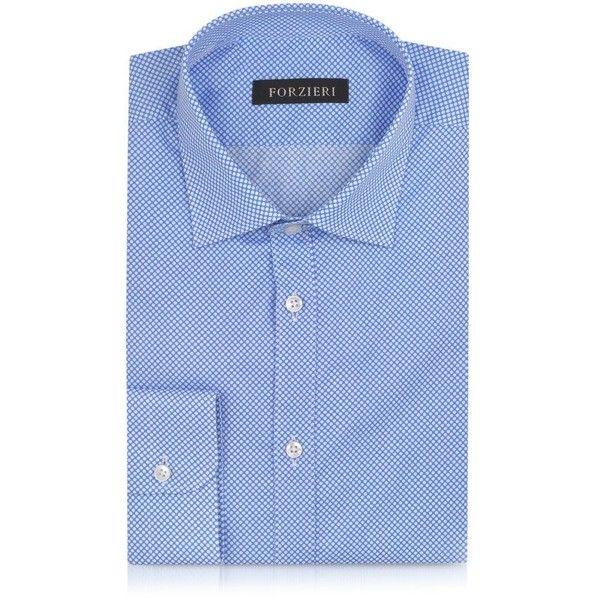 Forzieri Light Blue and White Polkadot Cotton Slim Fit Shirt (7975 RSD) ❤ liked on Polyvore featuring men's fashion, men's clothing, men's shirts, men's casual shirts, mens slim fit shirts, mens slim shirts, mens slim fit casual shirts, mens blue and white striped shirt and mens cotton shirts