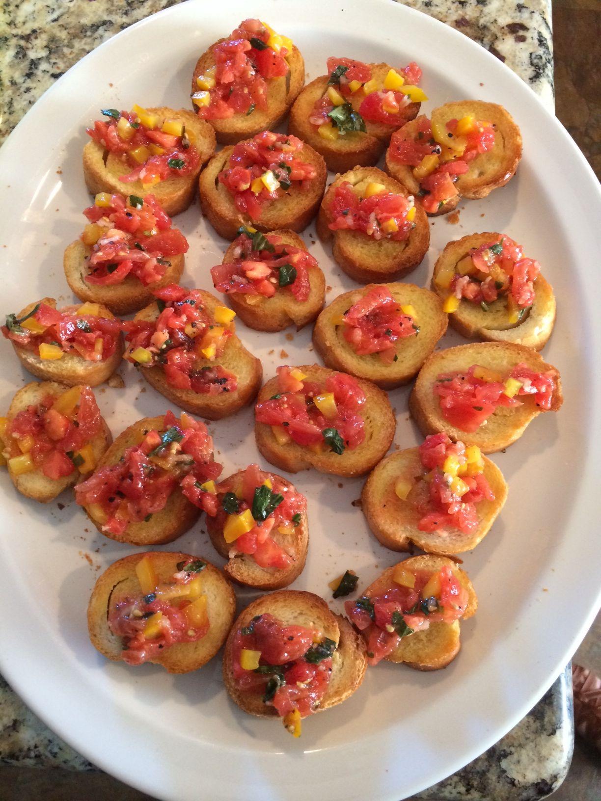 Bruschetta tomato basil yellow pepper olive oil rice
