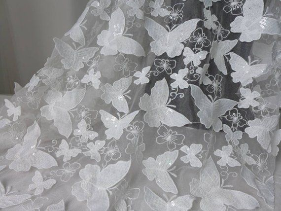 Off white butterfly fabric sequins butterfly lace fabric 3d