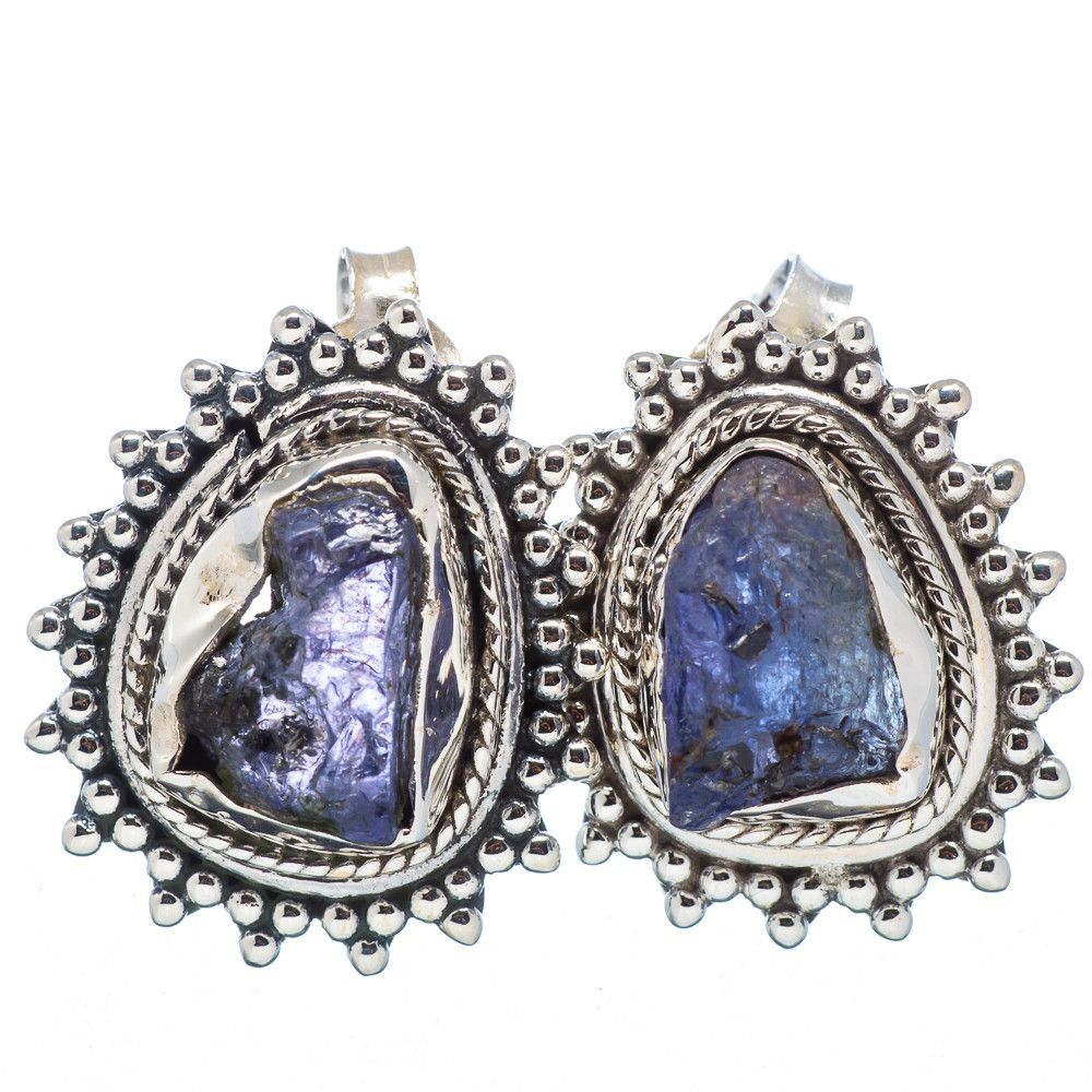 """Rough Tanzanite 925 Sterling Silver Earrings 3/4"""" EARR319485"""