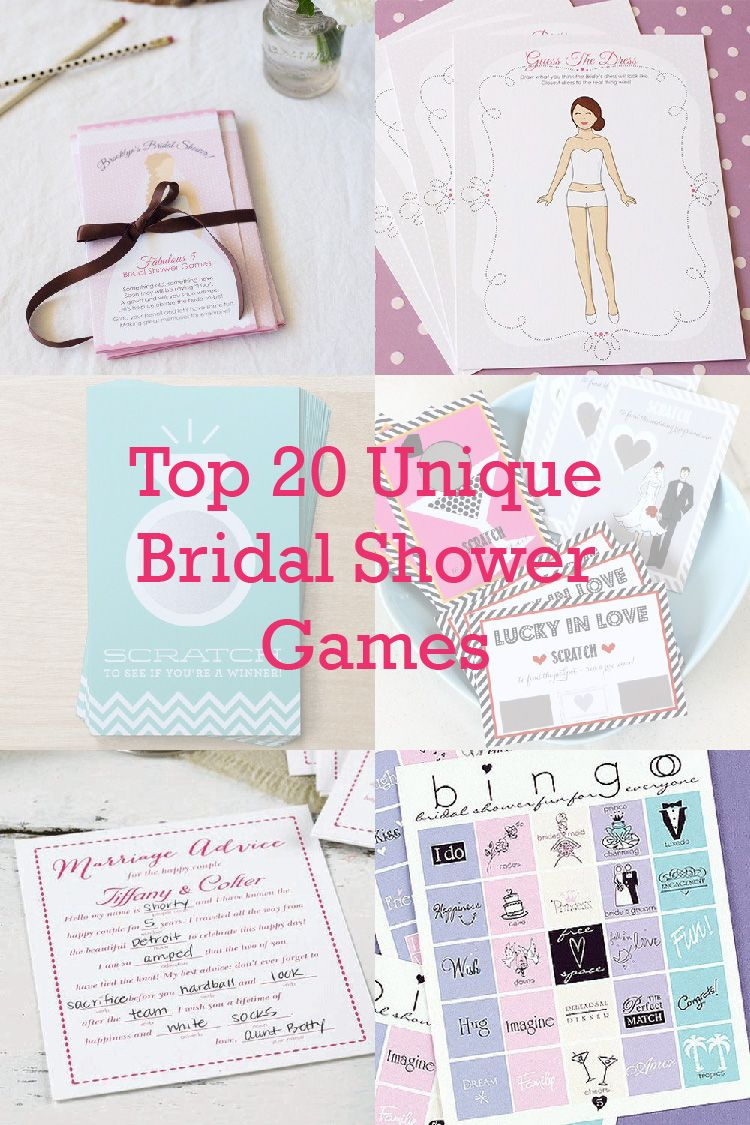 on the blog get the bridal shower started with our top 20 unique bridal shower games