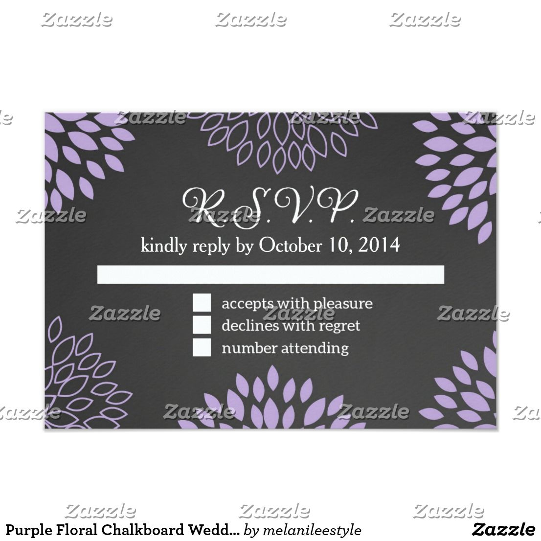 Purple Floral Chalkboard Wedding Rsvp Card Chalkboard Background