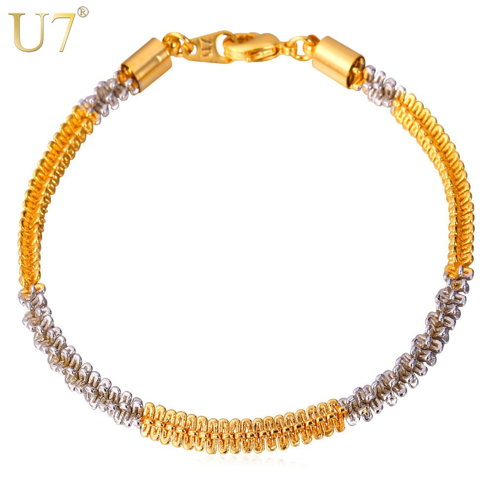 U two tone bracelet men jewelry gold color new trendy mm cm