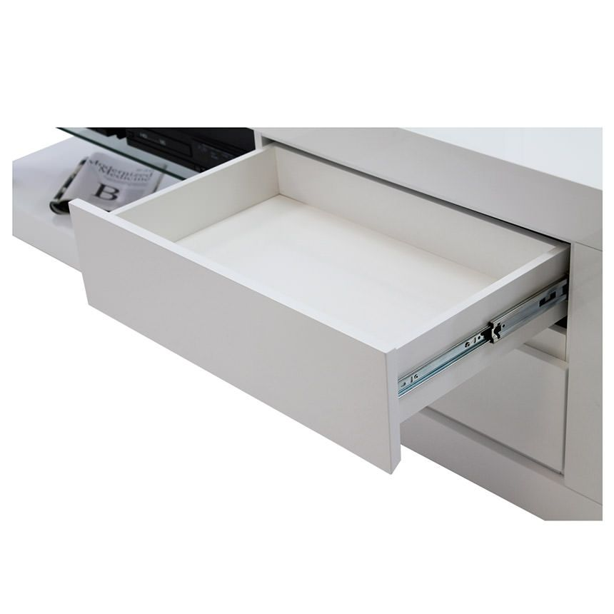 Abbey Coffee Table High Gloss White With 2 Pull Out Drawers: Max White TV Stand