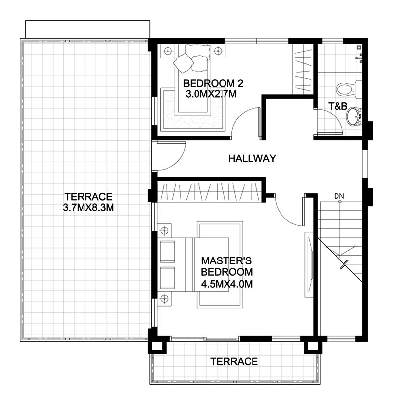 Havana Two Storey House With Spacious Terrace Pinoy Eplans Home Design Plan Two Story House Design Two Storey House