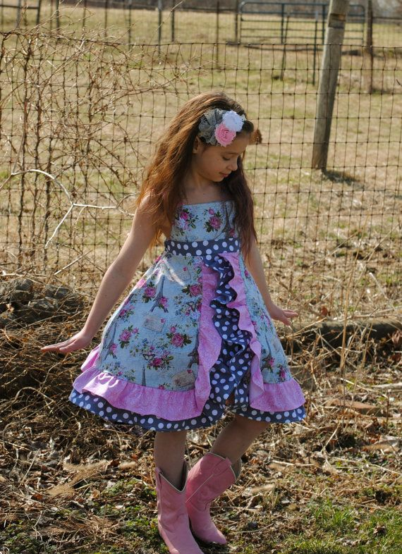 6e6fc6d94051 Girls Boutique Dress ~ Easter ~ Letters to Paris Double Ruffle Sundress by  MadeontheHomestead