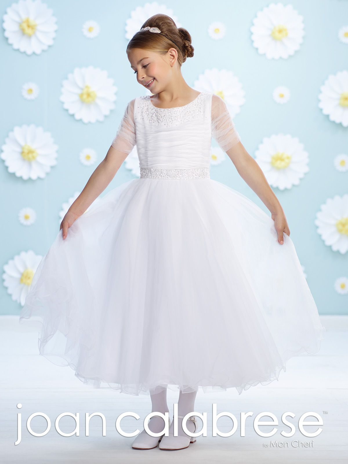 07c033a20a0 Joan Calabrese for Mon Cheri - 116385 - Tulle over satin tea-length A-line  dress with ruched illusion short sleeves