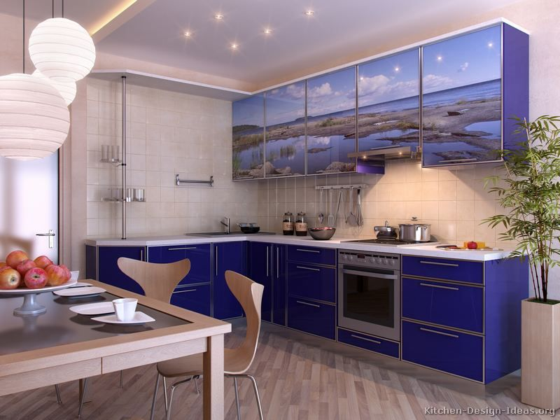 Kitchen of the Day A flashy blue contemporary kitchen with an ocean