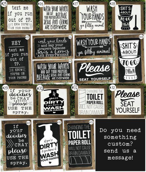 Bathroom Sign Poop Sign Wood Signs Bathroom Wall Decor   Etsy