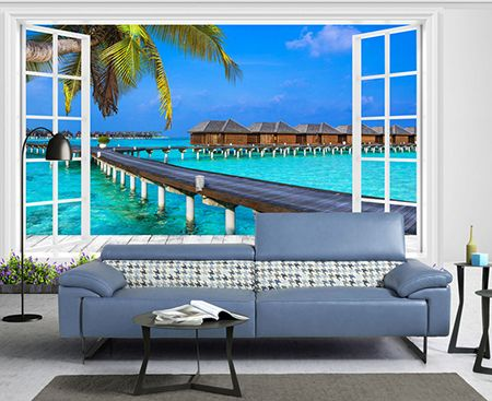 d coration trompe l 39 il 3d vue depuis la fen tre paysage tropical h tel flottant paysages. Black Bedroom Furniture Sets. Home Design Ideas