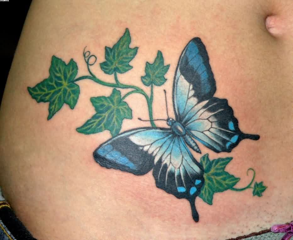 885470805dd83 Butterfly And Ivy Leaves Tattoo On Waist   TATTOOs   Ivy tattoo ...