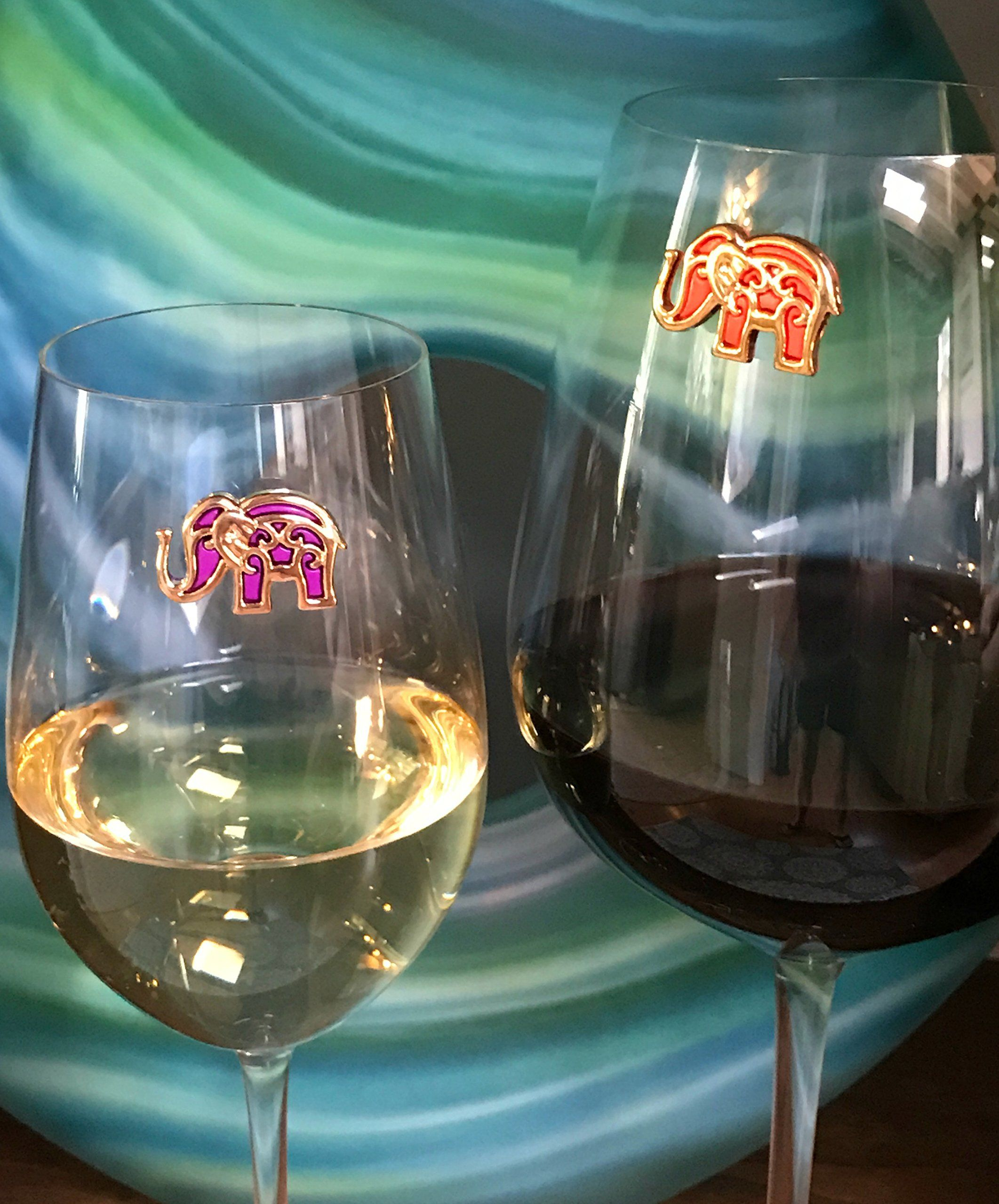 Wine Charms For Glasses Magnetic Elephant Drink Markers Set Of 6 Perfect For Stemless Glasses By Simply Charmed Details Drink Marker Wine Charms Markers Set