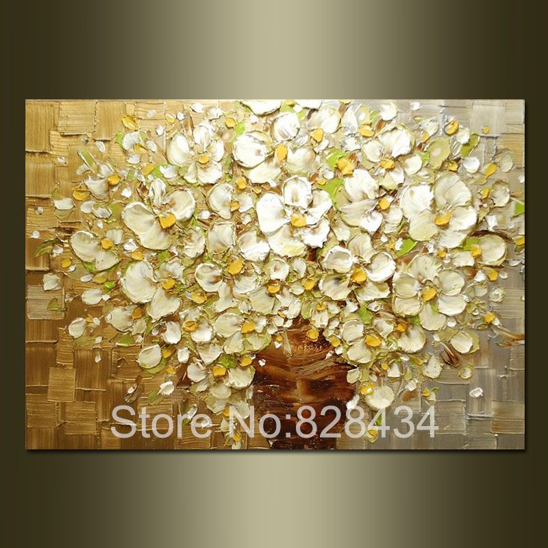 100 Hand Painted Wall Art Abstract Painting Gold And Silver Background White Flowers