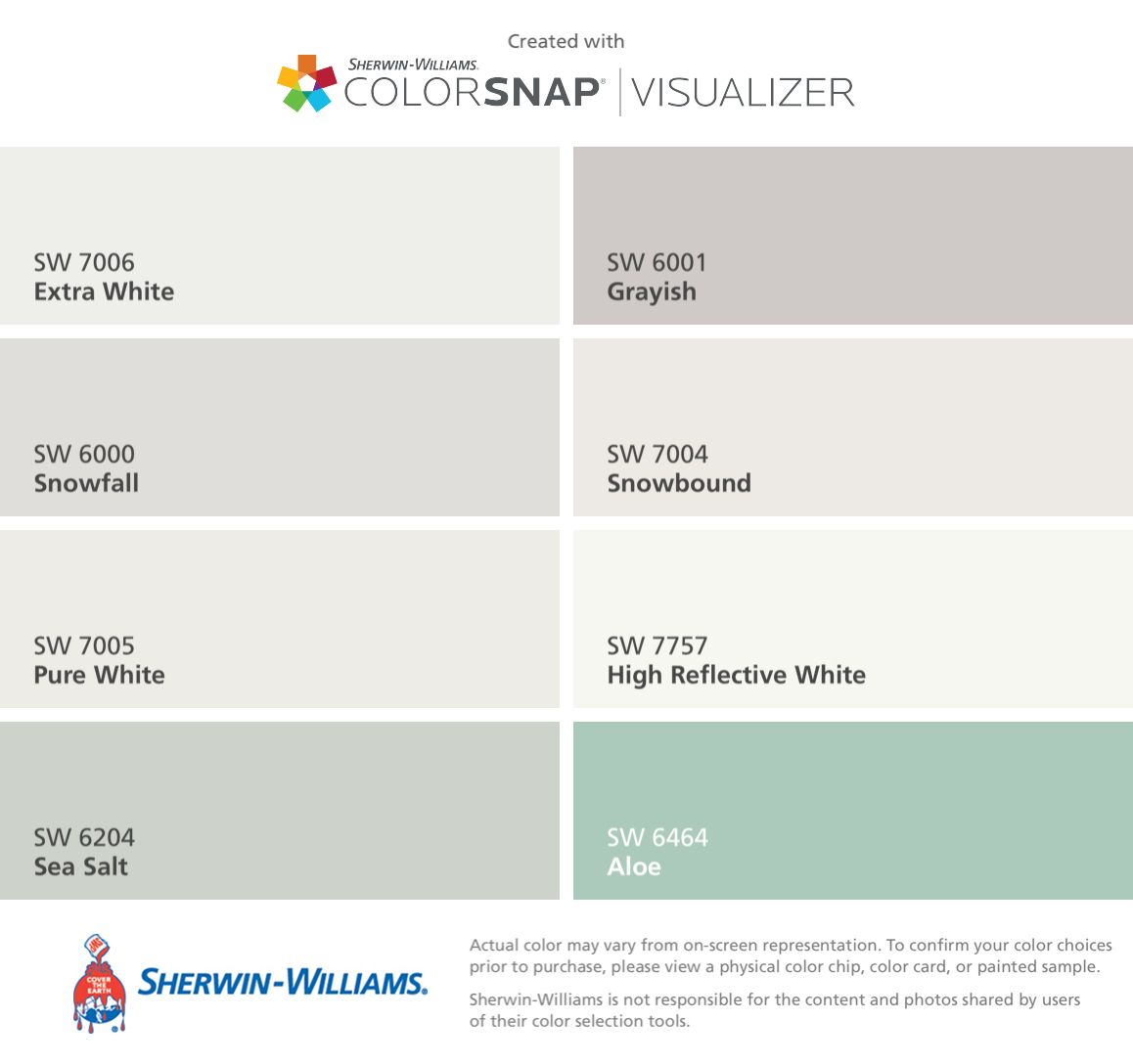 i found these colors with colorsnap visualizer for iphone by sherwin williams extra white sw. Black Bedroom Furniture Sets. Home Design Ideas